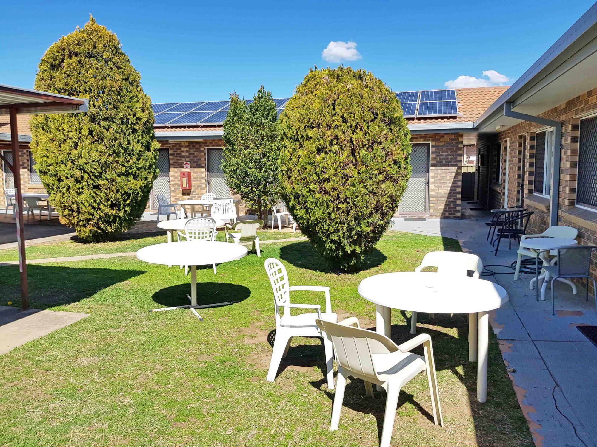 maria motel garden outdoor seating area